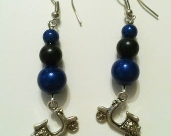 blue black beads and scooter charm earrings