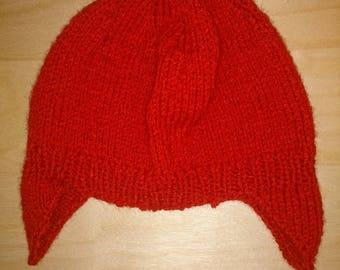 Red Peruvian hand knitted