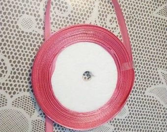 1 meter Ribbon pink satin, 6 mm wide