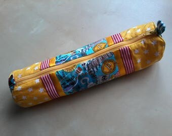 "Golden yellow pencil case ""pirate"""