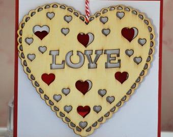 Card Valentine heart wood