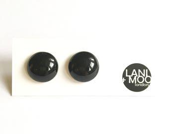 Black Resin Stud Classic Leaf Statement Earrings!