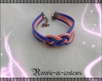 "Bracelet suede sailor knot ""Coral"""