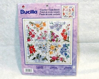 "Bucilla Counted Cross Stitch ""Flowers of the Month Pillow"" 