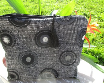 toilet bag black and grey silver lined