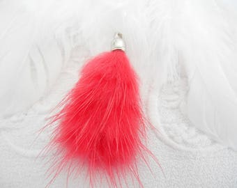 x 1 pendant charm fur dark pink.