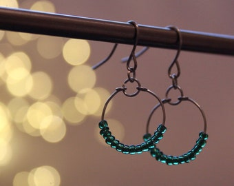Handmade small drop hoop wire earrings, silver plated copper with tiny beads and wire wrapping. Minimal design, elegant gift, for charity