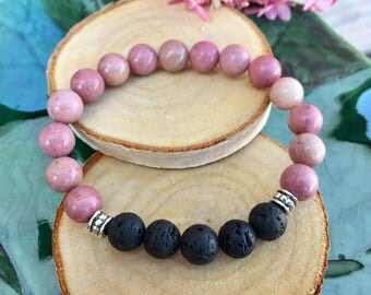 Calming Pink Rhodonite Bracelet with Black Lava Beads for Essential Oils, Aromatherapy