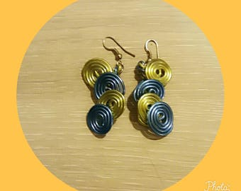 lime green blue aluminum wire earring