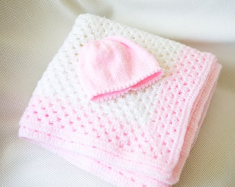 Pure and Simple Baby Shawl and Hat Set