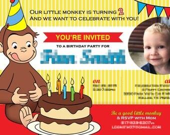 Printable Customized Curious George Birthday Invitation