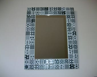 Black and white deco mirror mosaic