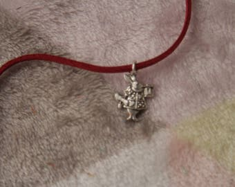 Red faux suede cord necklace with the white rabbit from alice in wonderland