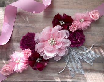 Pink and Red Flower sash, Maternity Sash, Purple Lavender Gray Sash, Gender Reveal Party Sash, Baby Shower Sash, Keepsake
