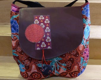 SC23 Burgundy leather and Burgundy floral Asian cotton fabric bag