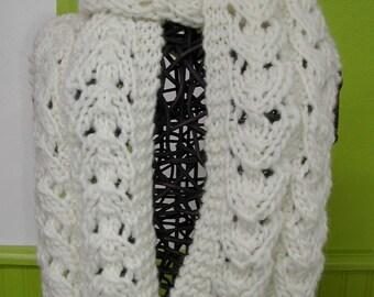 Ecru, Openwork, knitted handmade scarf