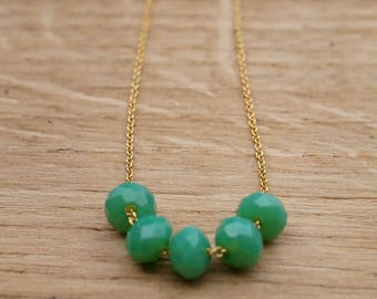 """Faceted"" Goldfilled green Crystal Necklace"