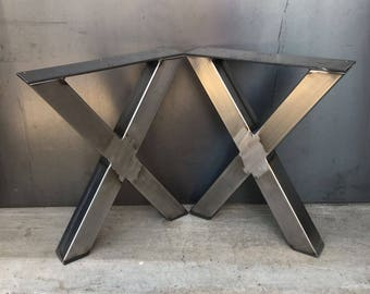 3x3 X shape metal legs, set of 2, metal table legs, steel table legs, bench legs, industrial table legs, heavy duty table legs, steel legs