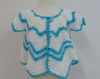 Turquoise and White Butterfly crochet vest