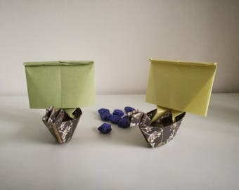 Set of 2 handmade origami viking ships boats