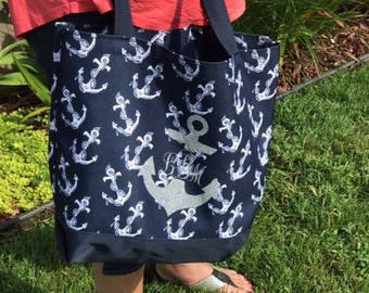 Anchor Beach Tote with Customize-able Monogram