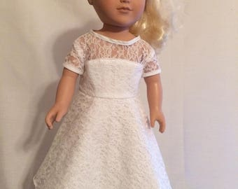 """White full lace dress for 18"""" Doll"""