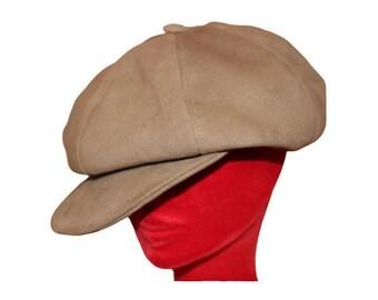Leather newsboy cap Beige genuine