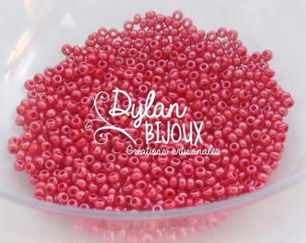 seed pearl beads 10 grams 'crushed raspberry' red ⌀ 2.3 mm 10/0
