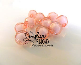 Faceted acrylic bead Ø 10 mm / pink / dusty rose