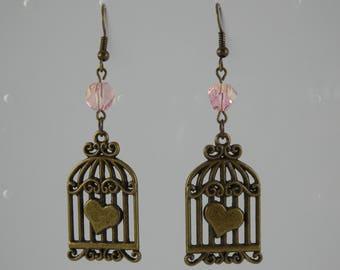 Pink Bird Cage earrings