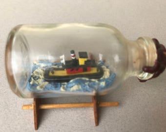 Vintage Handcrafted Model Tugboat in a Bottle