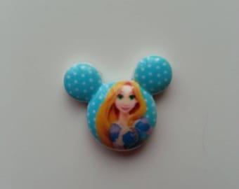 cabochon avec impression princesse raiponce bleu  21*18mm