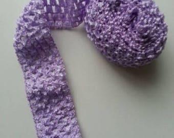 1 mètre de  bandeau cheveux crochet extensible de couleur mauve