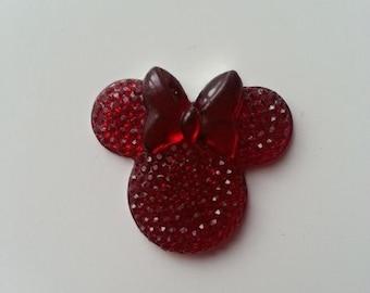 tête de souris minnie  rouge 30*25mm