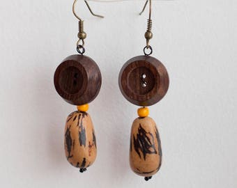 Button earrings - wood and seed