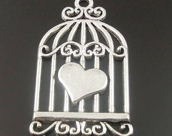 2 charms/pendants bird cage and heart in antique silver