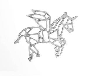 1 pendant in matte silver origami Unicorn shape