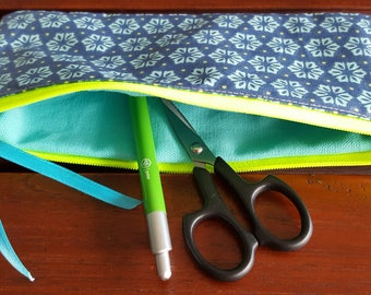 pouch makeup or pencil case school star turquoise neon zip