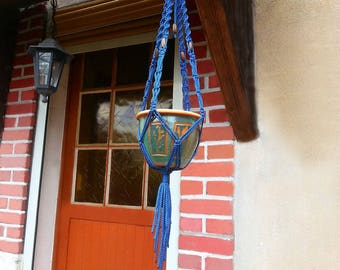 """For small plants pattern """"Prussian blue"""" macrame wall hanging"""
