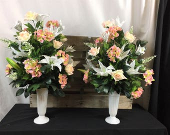 Bridal Wedding Church Altar Pew Arrangement White And Pink Silk Flowers Decoration