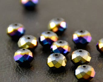 "X 10 large beads ""plump faceted"", gold blue purple, 1 x 0.7 cm"