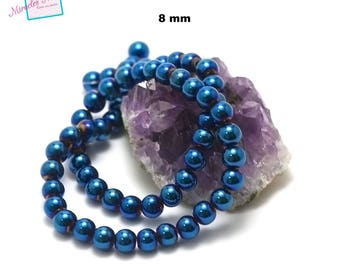 """39cm 49 thread beads Hematite hematite """"8 mm round"""", natural stone"""