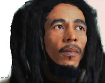 Bob Marley Digital Portrait by B. Jamal