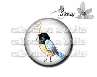 PA248 cabochons glass manual Retro multicolored flowers, birds