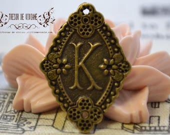 set of 8 QKA048 Bronze pendant, letter K
