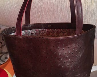 Baroque lining Burgundy Brown ostrich print leather tote bag