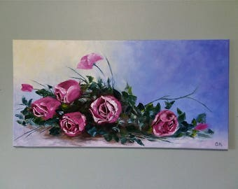 Roses Floral art painting Roses painting Palette knife art Oil painting flowers Pink roses art Roses bouquet Wall decor Home decor Nice gift