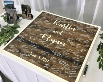 Wood wedding guest book sign