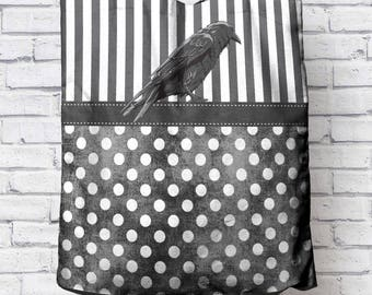 Dots and Stripes with Raven Canvas Tote Bag (Select Color)