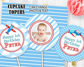 Airplane Cupcake toppers Pilot toppers Airplane toppers Photo toppers Digital printable Birthday toppers